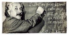 Albert Einstein, Physicist Who Loved Music Hand Towel