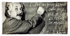 Albert Einstein, Physicist Who Loved Music Hand Towel