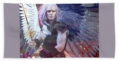 Hand Towel featuring the painting Albino Angel 4 by Suzanne Silvir