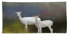 Albino Deer Bath Towel by Marion Johnson
