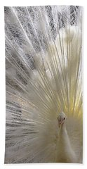 Pure White Peacock Hand Towel