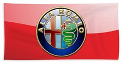 Alfa Romeo - 3d Badge On Red Hand Towel