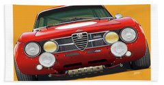 Alfa Romeo Gtam On Yellow Hand Towel by Alain Jamar