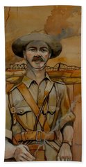 Hand Towel featuring the painting Alfred Shout Vc by Ray Agius