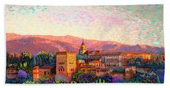Hand Towel featuring the painting Alhambra, Grenada, Spain by Jane Small