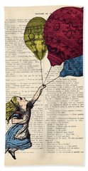 Alice In Wonderland With Big Colorful Balloons Bath Towel