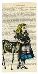 Alice In Wonderland With Fawn In Color Antique Illustration Bath Towel