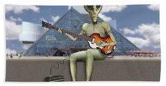 Alien Bass Guitarist  Bath Towel