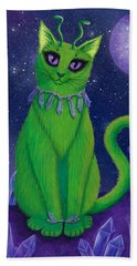 Hand Towel featuring the painting Alien Cat by Carrie Hawks