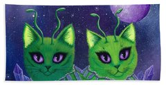 Hand Towel featuring the painting Alien Cats by Carrie Hawks