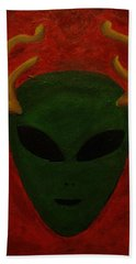 Bath Towel featuring the painting Alien Deer by Lola Connelly