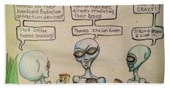 Alien Friends Coffee Talk About Cellular Hand Towel