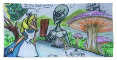 Alien In Wonderland Hand Towel