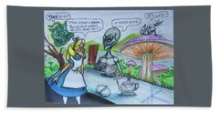 Hand Towel featuring the painting Alien In Wonderland by Similar Alien