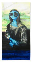 Hand Towel featuring the painting alien Mona Lisa by Similar Alien