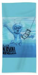 Hand Towel featuring the painting Alien Nevermind by Similar Alien