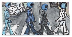 Hand Towel featuring the painting Alien Road by Similar Alien