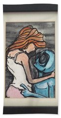 Hand Towel featuring the painting Alien Seduction by Similar Alien