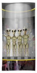 Alien Vacation - Beamed Up From Time Square Hand Towel