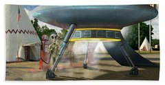 Alien Vacation - Gasoline Stop Hand Towel by Mike McGlothlen