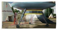Alien Vacation - Gasoline Stop Bath Towel by Mike McGlothlen