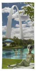 Alien Vacation - St. Louis Hand Towel by Mike McGlothlen
