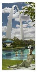 Alien Vacation - St. Louis Bath Towel by Mike McGlothlen