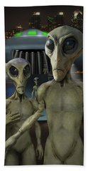 Alien Vacation - The Arrival  Hand Towel by Mike McGlothlen