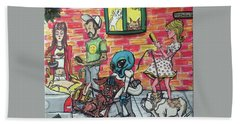 Hand Towel featuring the painting Aliens Love Dogs by Similar Alien