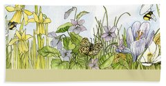 Hand Towel featuring the painting  Alive In A Spring Garden by Laurie Rohner