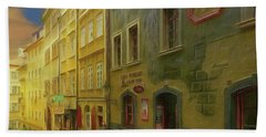 All Downhill From Here - Prague Street Scene Bath Towel