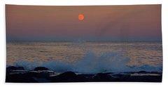 Allenhurst Beach Full Moon Rise Bath Towel