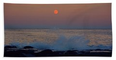 Allenhurst Beach Full Moon Rise Hand Towel