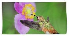 Allens Hummingbird And Anemone Bath Towel