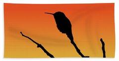 Allen's Hummingbird Silhouette At Sunset Hand Towel