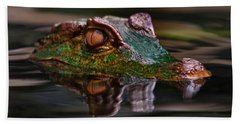 Alligator Above Water Reflection Bath Towel