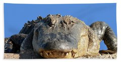 Hand Towel featuring the photograph Alligator Approach .png by Al Powell Photography USA