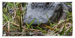 Alligator Closeup-0642 Bath Towel