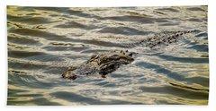 Alligator In Lake Alice Bath Towel by Louis Ferreira