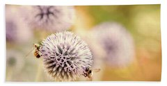 Hand Towel featuring the photograph Allium And Bees by Peggy Collins