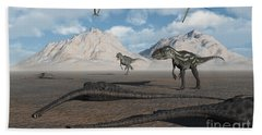 Allosaurus Dinosaurs Approach A Group Hand Towel
