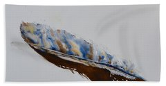 Bath Towel featuring the painting Almost Abstract Feather by Beverley Harper Tinsley