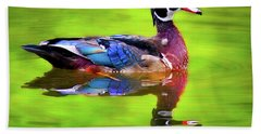Bath Towel featuring the photograph Almost Perfect Wood Duck by Jean Noren