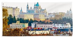 Almudena Cathedral And The Royal Palace Of Madrid Spain Hand Towel