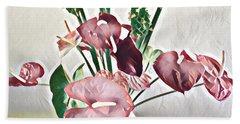 Aloha Bouquet Of The Day - Anthuriums And Green Ginger In Pale Hand Towel
