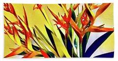 Aloha Bouquet Of The Day - Halyconia Birds In Orange Hand Towel