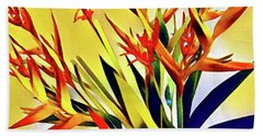 Aloha Bouquet Of The Day - Halyconia Birds In Orange Bath Towel
