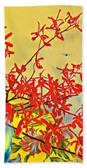 Aloha Bouquet Of The Day -- Red Orchids In Blue Vse Hand Towel