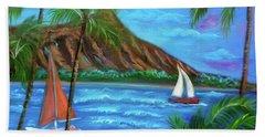 Aloha Diamond Head Hand Towel by Jenny Lee