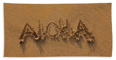 Aloha In The Sand Bath Towel by Pamela Walton